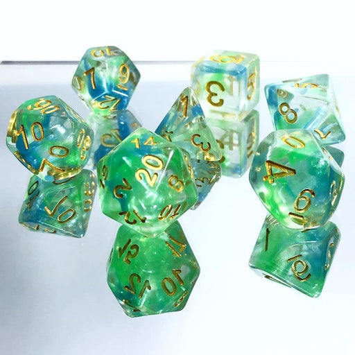Green Blue Nebula Dice Set