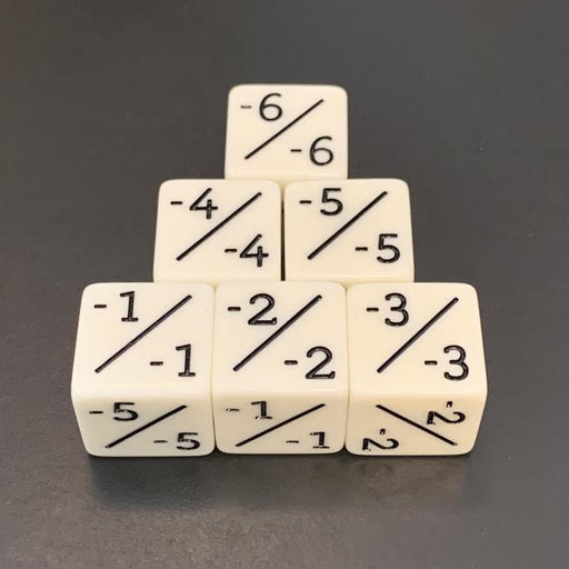 White D6 Counter Dice Negative