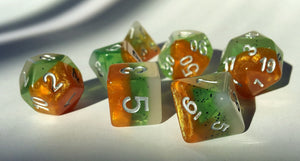 Kiwi Fruit Layered Polyhedral RPG Dice Set