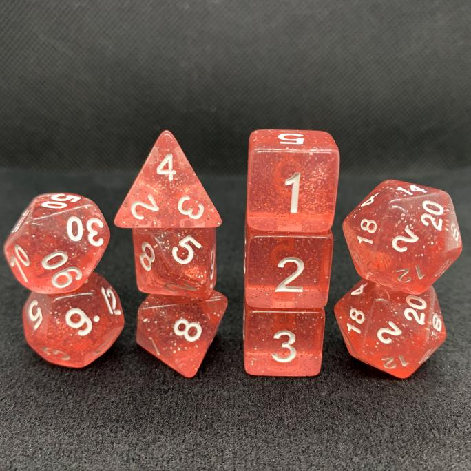 Extended Red Translucent Sparkle Polyhedral RPG Dice Set