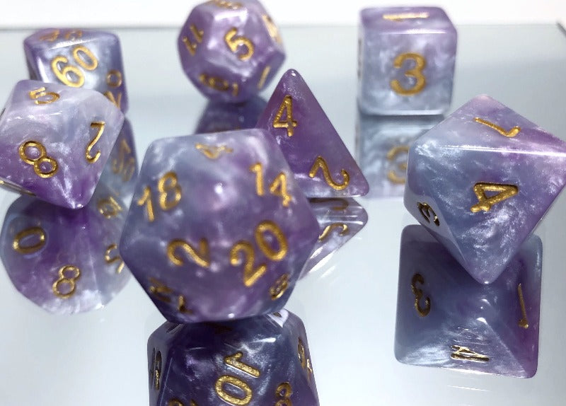 Blue and Purple Cloud Dice Set