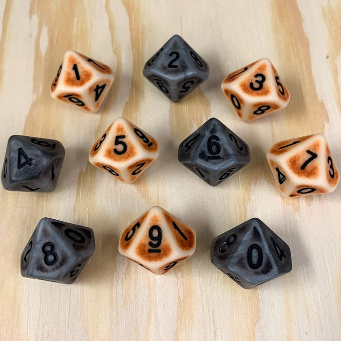 Set of 10 Brown and Silver Ancient Bone d10 Polyhedral RPG Dice
