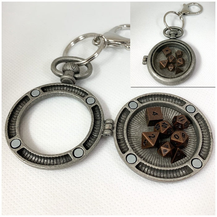 Antique Silver Pocket Watch Style Lobster Clasp Keychain with Set of Metal Micro Polyhedral Dice