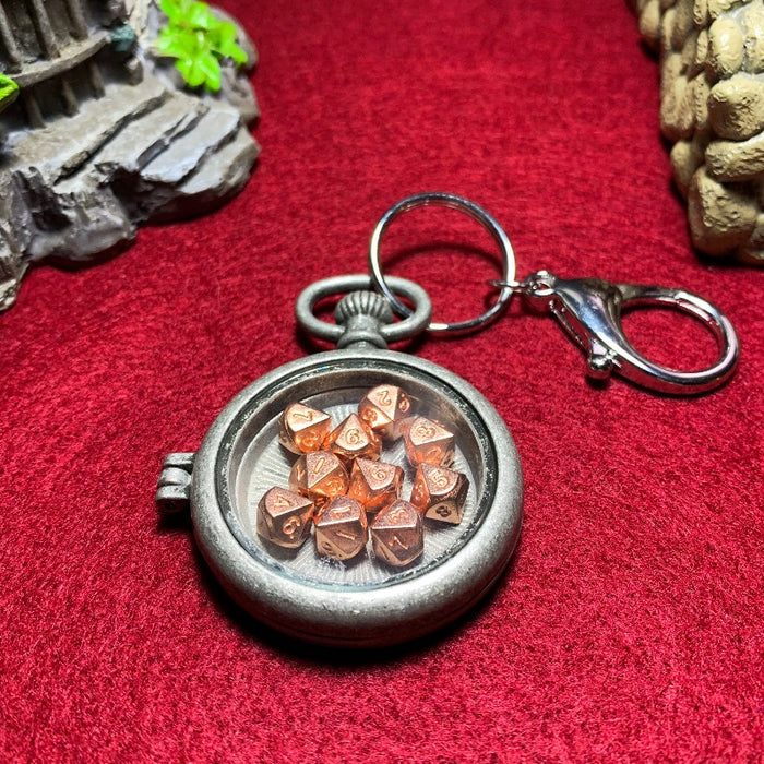 Antique Silver Pocket Watch Style Lobster Clasp Keychain with Set of 10 Metal Micro D10 Dice