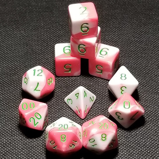 Extended Set Berry Swirl Polyhedral RPG Dice Set