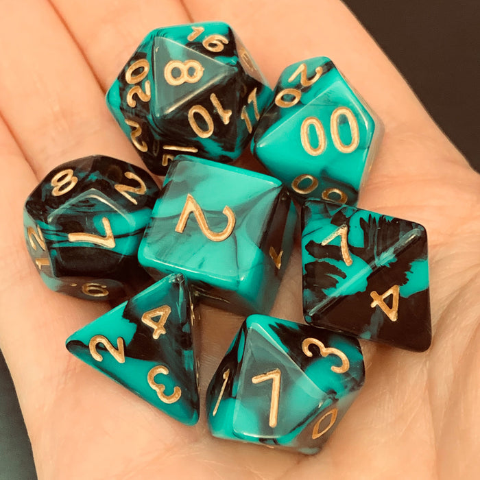 Viridian Shadows Polyhedral RPG Dice Set