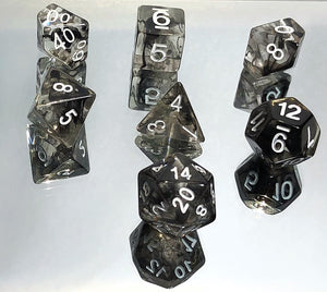 Black Nebula Swirl Polyhedral RPG Dice Set