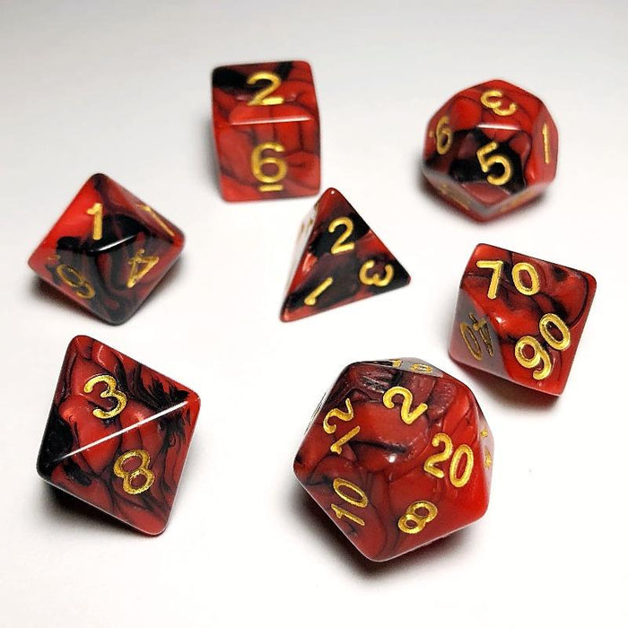 Black and Red Polyhedral Dice Set