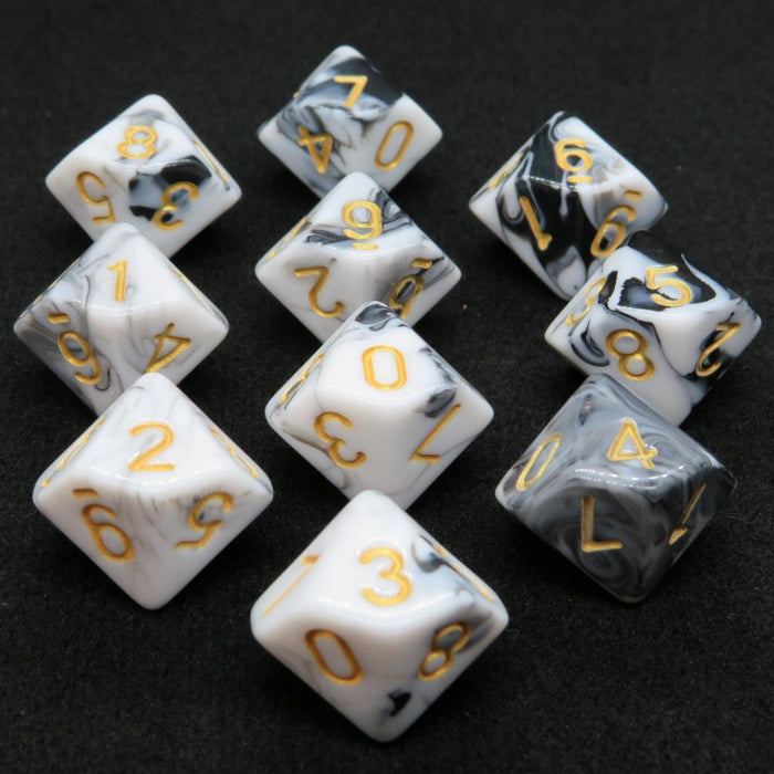 Black and White Swirl D10 Dice Set