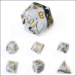 Black and White Swirl Dice Bulk Pieces