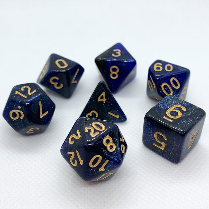 Universe in Black and Blue Polyhedral RPG Dice Set