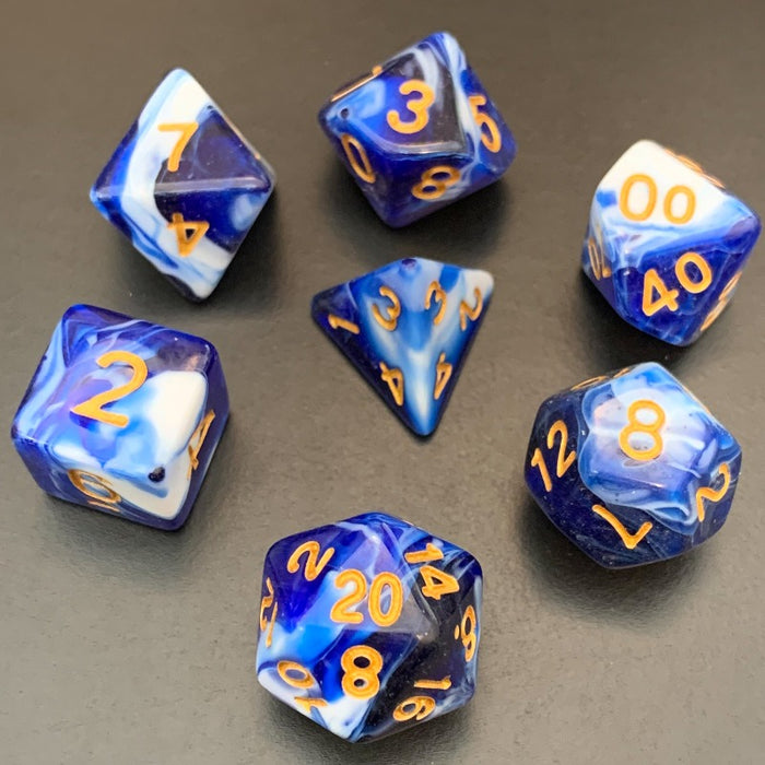 Blueberry Swirl Polyhedral RPG Dice Set