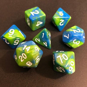 Blue and Green Blend Polyhedral RPG Dice Set