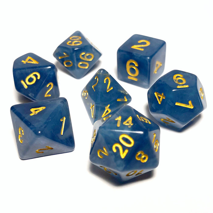 Storm Cloud Blue Jade Polyhedral RPG Dice Set