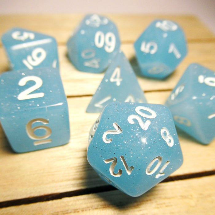 Blue Crush Polyhedral RPG Dice Set
