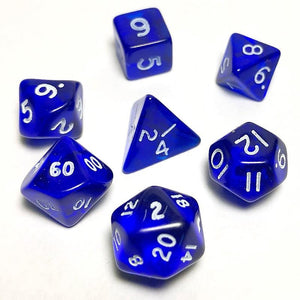 Translucent Blue 10mm Polyhedral RPG Dice Set