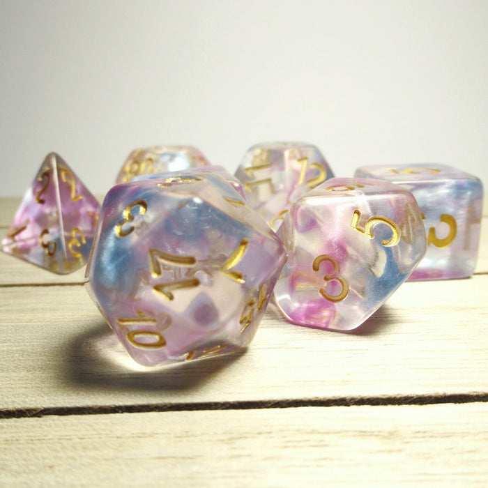 Purple Blue Nebula Swirl Polyhedral RPG Dice Set