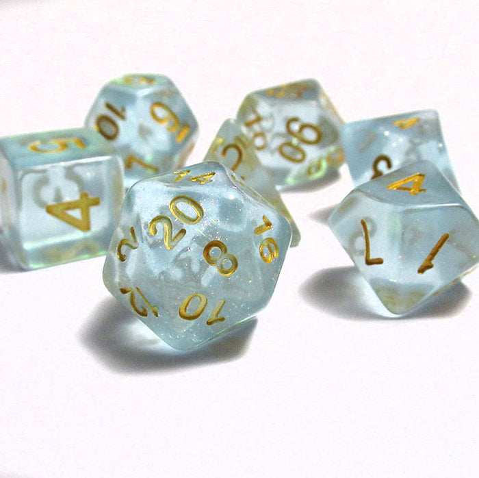 Light Blue Iridescent Sparkle Polyhedral RPG Dice Set
