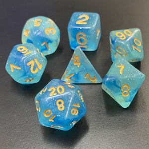 Blue Sparkle Nebula Polyhedral RPG Dice Set
