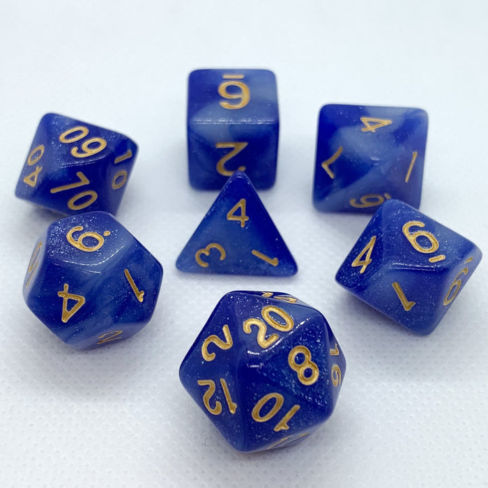Universe in Blue and White Polyhedral RPG Dice Set