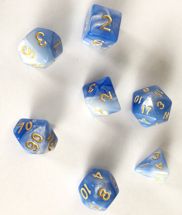 Blue and White Swirl RPG Polyhedral Dice Set