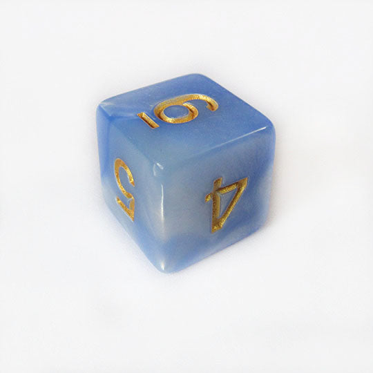 Blue and White Swirl Dice Bulk Pieces