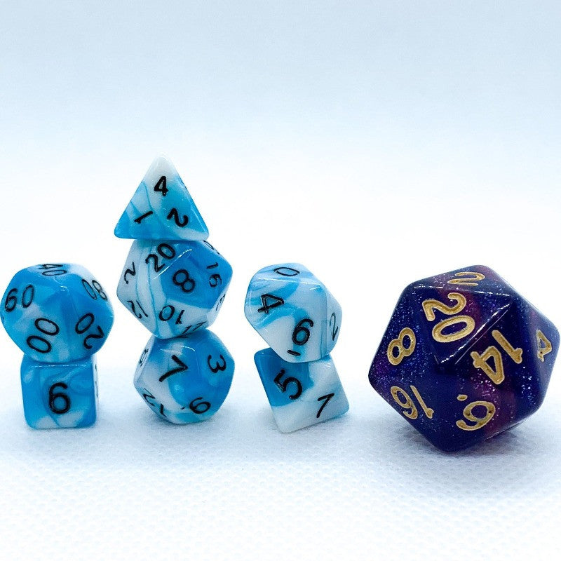 Blue and White Swirl 10mm Polyhedral RPG Dice Set