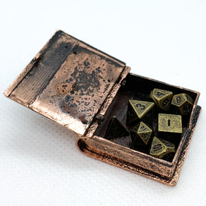 Steampunk Miniature Locket Style Book Pendant with Metal Micro Dice Set