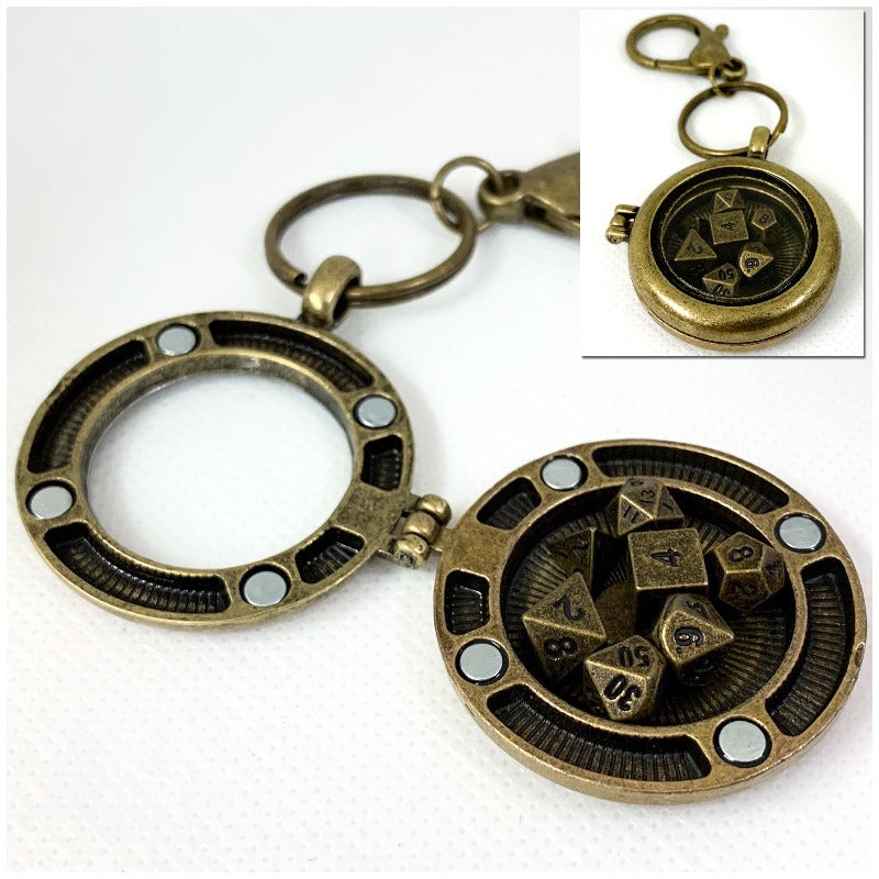 Antique Gold Locket Style Lobster Clasp Keychain with Set of Metal Micro Polyhedral Dice