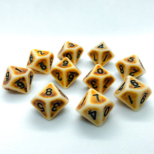 Set of 10 Brown Ancient Bone d10 Polyhedral RPG Dice