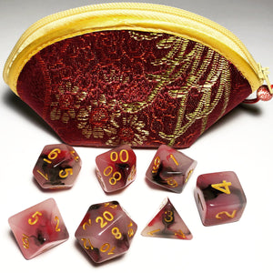 Chinese Silk Brocade Dice Bag with Matching Polyhedral RPG Dice Set