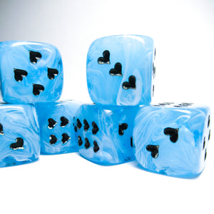 Blue Cirrus Dice with Heart Pips