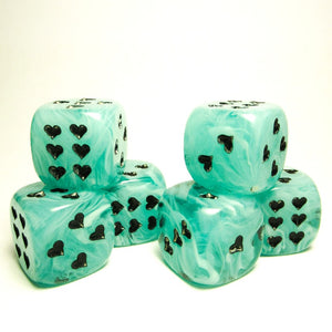Green Cirrus Dice with Heart Pips