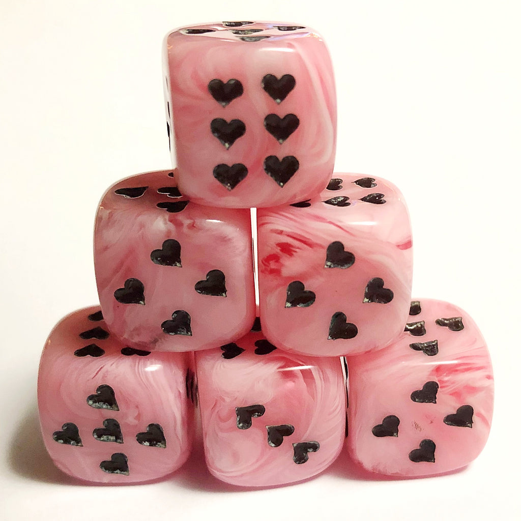 Pink Cirrus Dice with Heart Pips