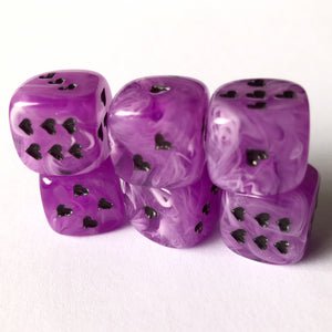 Purple Cirrus Dice with Heart Pips