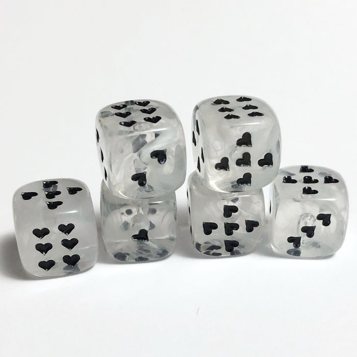 White Cirrus Dice with Heart Pips