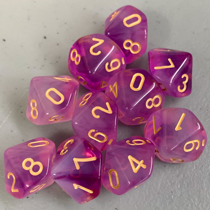 Cloudy Purple D10 Dice Set