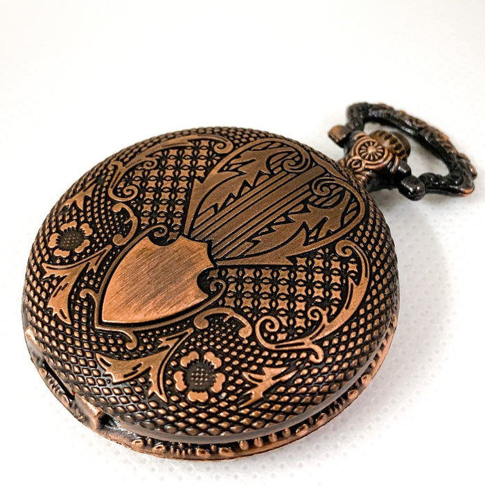 Copper Steampunk Style Pocket Watch Shell with Set of 10 Metal Micro D10 Dice