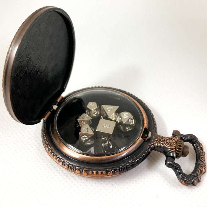 Copper Steampunk Style Pocket Watch Shell with Set of Metal Micro Polyhedral Dice