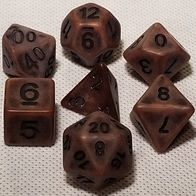 Ancient Copper Polyhedral RPG Dice Set