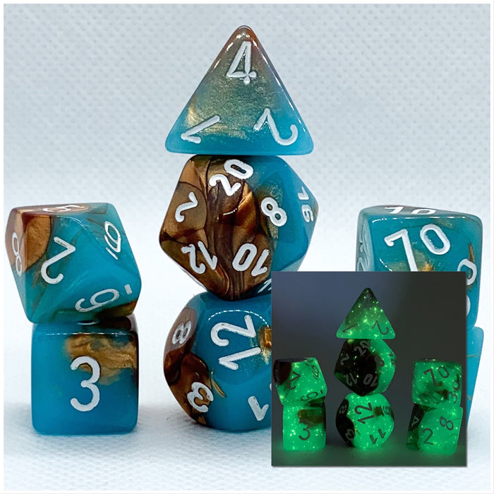 Gemini Copper-Turquoise Polyhedral RPG Dice Set