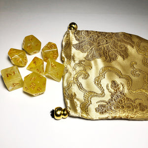 Chinese Silk Brocade Drawstring Dice Bag with Matching Polyhedral RPG Dice Set