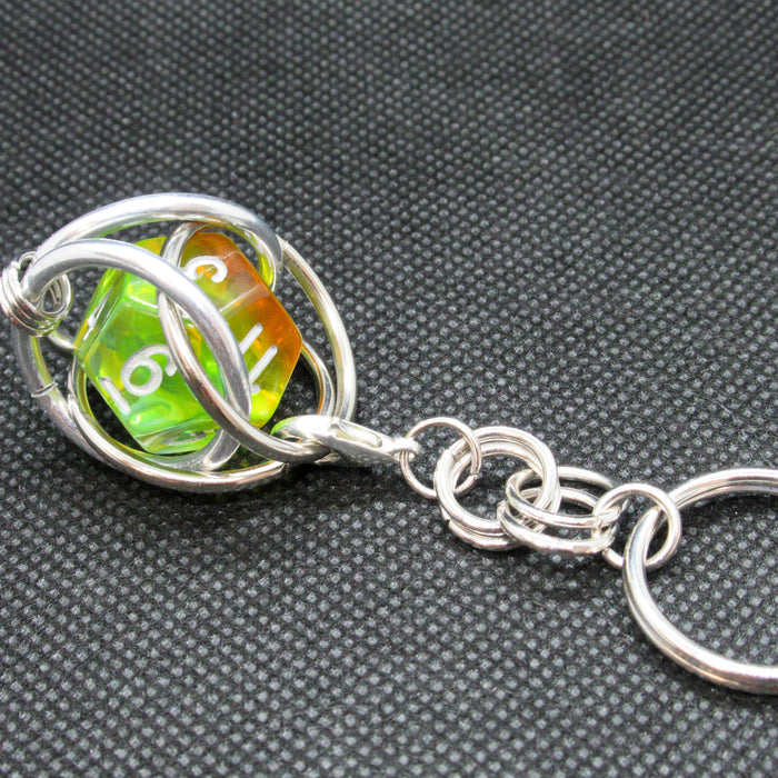 Removable d12 Dice Cage Keychain
