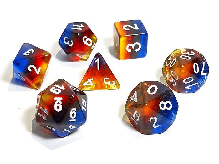 Dark Transparent Rainbow Gradient Polyhedral RPG Dice Set