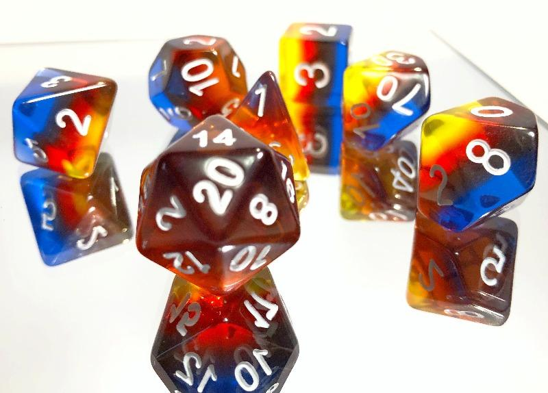 Dark Transparent Rainbow Polyhedral RPG Dice Set