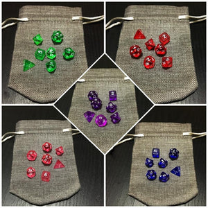 Dark Miniature Jute Dice Bag with Miniature Dice Set