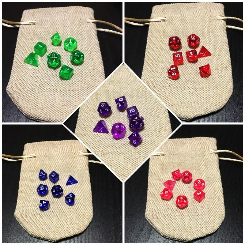 Light Miniature Jute Dice Bag with Miniature Dice Set