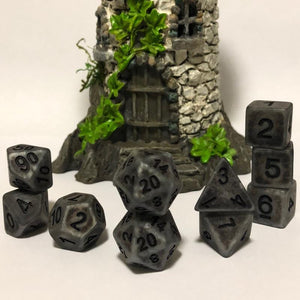 Extended Set Silver Ancient Bone Polyhedral RPG Dice Set