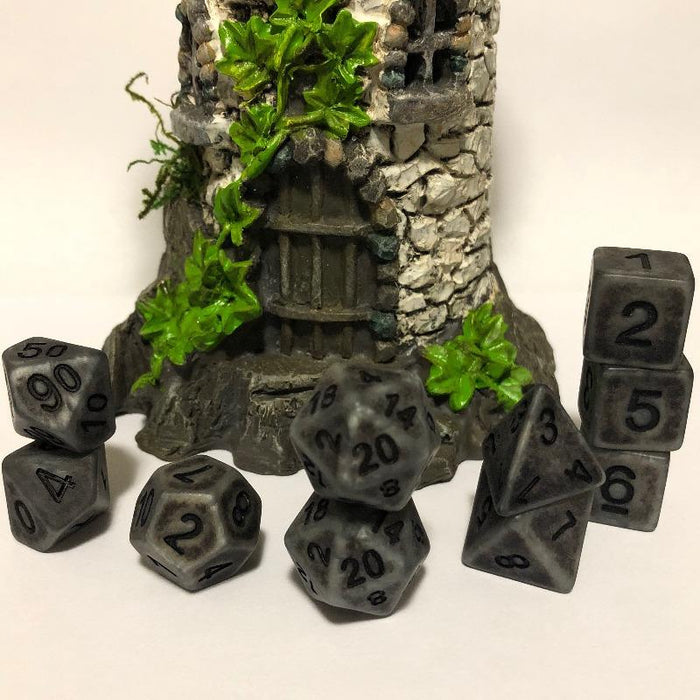Extended Set Ancient Silver Bone Polyhedral RPG Dice Set