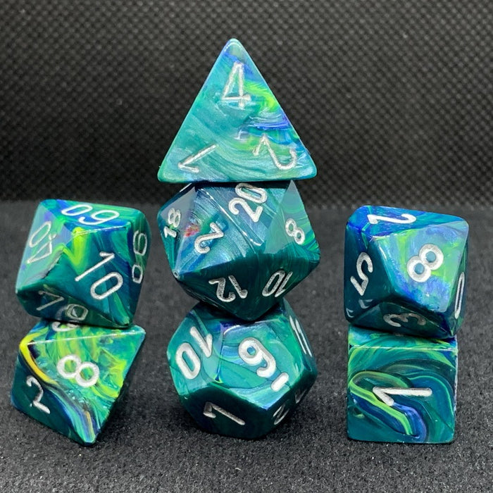 Festive Green Polyhedral RPG Dice Set